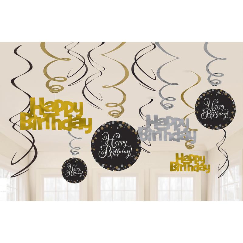 """Party-Spiralen /""""60/"""" Schwarz//Gold 12-teilig Deko Geburtstag Spirale Girlande"""