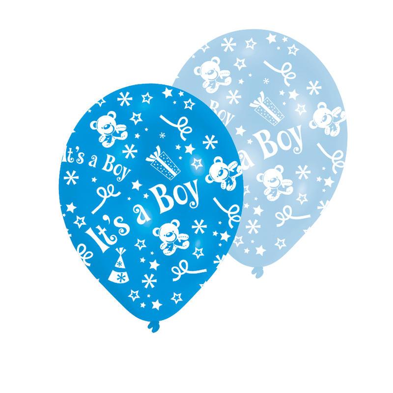 Luftballon blau 6 Stk D=23 cm mit Aufdruck Boy Geburt Taufe Ballon Party Fest