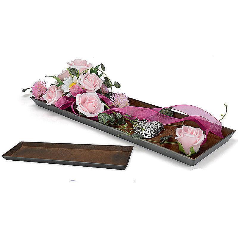 dekotablett in rostoptik rechteckig g nstig online bestellen. Black Bedroom Furniture Sets. Home Design Ideas