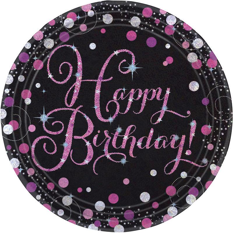 23cm Pappteller Geburtstagsparty Glitzer Partyteller Ziffer 18 8er Pck