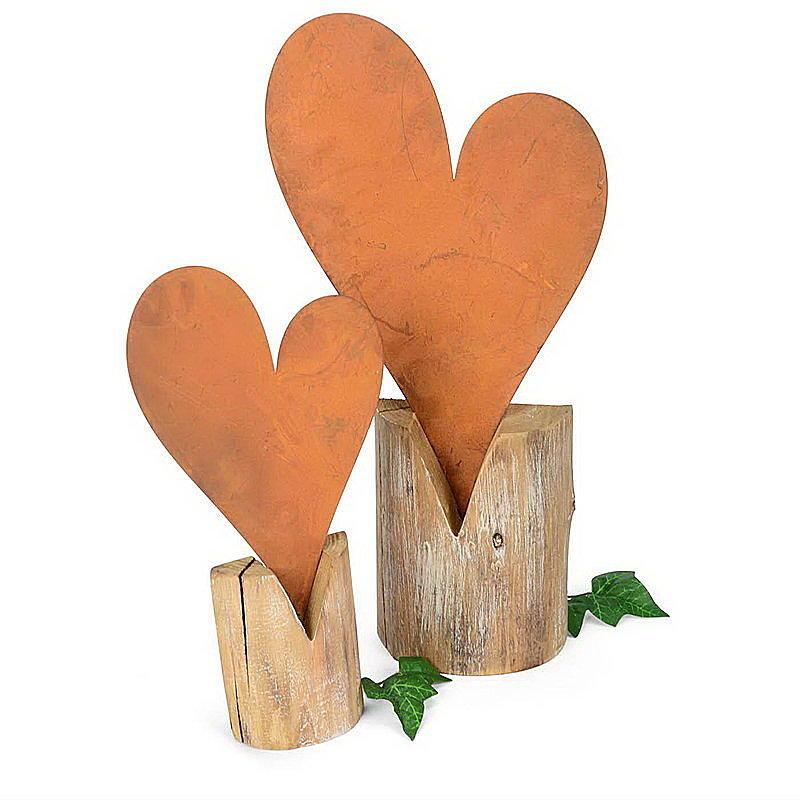 Herz rost auf holzstamm g nstig online bestellen for Herz aus rost