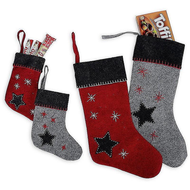 Weihnachtssocke aus Filz grau/rot günstig online bestellen