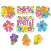 12 Hawaii Hibiskusbl�ten Partydeko