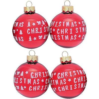 Christbaumkugeln Rot 15 Cm.Christbaumkugeln Merry Christmas Rot Glänzend ø 6 Cm
