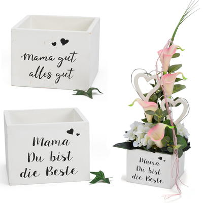 Holz-Kiste, Geschenkverpackung Mama, Pflanztopf, Pflanzgefäß
