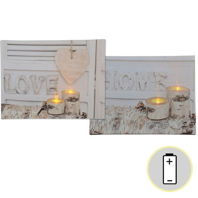LED Leinwandbild Love und Home