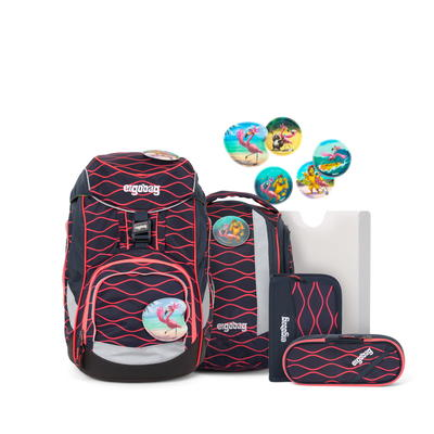 Schulranzen-Set ergobag LUMI-Edition pack-Set Wellenreitbär